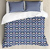 Arabian King Size Duvet Cover Set by Lunarable, Traditional Ardakan Pattern Mosaic Ornate Old Fashioned Architectural Inspiration, Decorative 3 Piece Bedding Set with 2 Pillow Shams, Multicolor