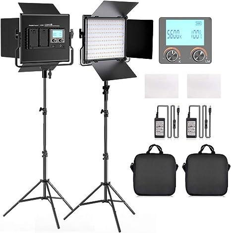 FOSITAN 2 Pack Bi-Color LED Luz de Vídeo 3200K-5600K Panel de luz y Kit de Soporte en U y Barndoor para Cámara Foto Estudio Video Filmación: Amazon.es: Electrónica
