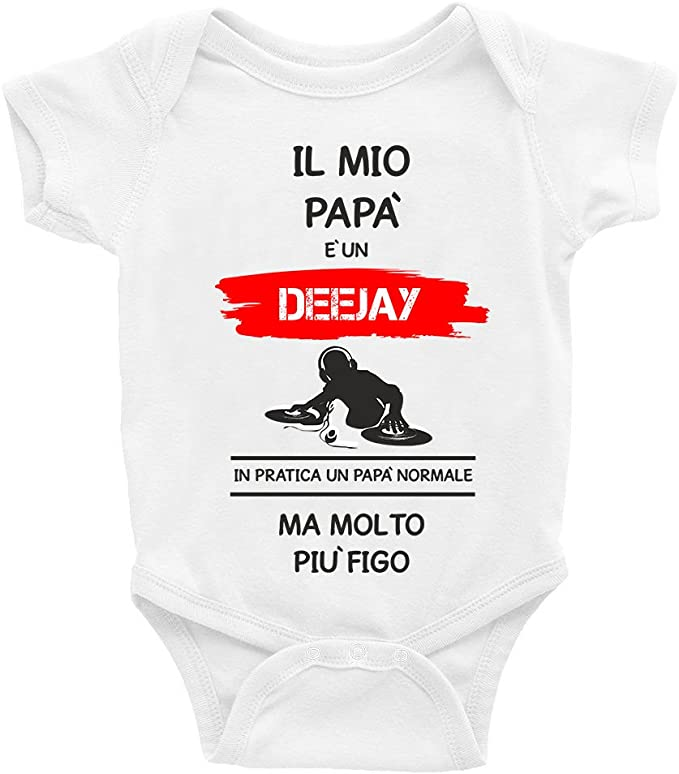 Puzzletee Body da Neonato Il Mio Papa e Un Deejay in Pratica Un Papa Normale ma Molto pi/ù Figo Mestieri Humor Festa del Papa
