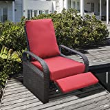 ART TO REAL Outdoor Resin Wicker Patio Recliner Chair with Cushions, Patio Furniture Auto Adjustable Rattan Sofa, UV/Fade/Water/Sweat/Rust Resistant, Easy to Assemble (Red)