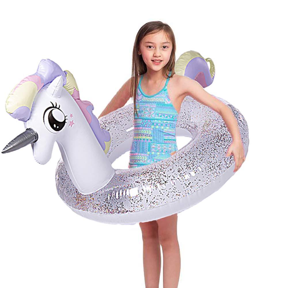 Wishtime Flotador Inflable Gigante para Piscinas Flotador para Piscinas Unicornio de 41 'con Brillo en el Interior, nade Innertube para niños y Adultos