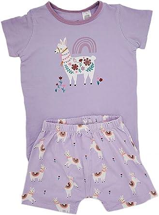 Pijama para niñas con estampado de unicornio, manga corta, algodón, ropa de dormir, camisas y pantalones para niños de 2 a 8 años: Amazon.es: Ropa y accesorios