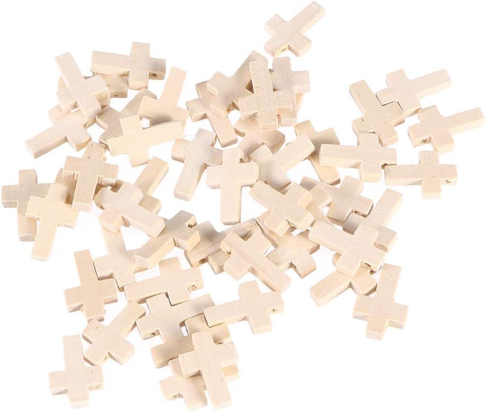 Artibetter 50PC Natural Unfinished madera cruz colgantes perlas 2.3x1.6 cm para proyectos de joyería de artesanía DIY