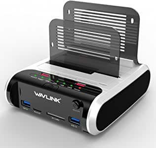 """WAVLINK USB 3.0 to SATA Dual Bay Hard Drive Docking Station with Offline Clone Function for 2.5""""/3.5"""" SATA HDD SSD, Support Fast Charger and TF & SD Card (2X 10TB)"""