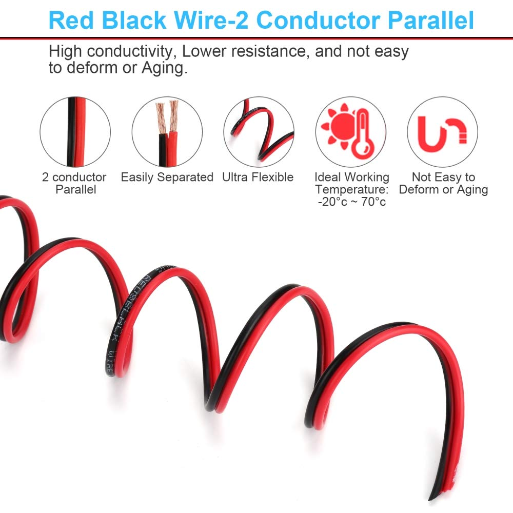 14AWG 2 Conductor 2 Color Flexible Parallel Zip Wire LED Strips Extension Cord 12V//24V DC Cable for LED Ribbon Lamp Tape Lighting AOTORUA 100FT 14//2 Gauge Red Black Cable Hookup Electrical Wire
