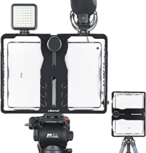 ULANZI U-Pad Metal Video Cage,Tablet Vlog Rig Stabilizer w 1/4 inch Screw Triple Cold Shoe Mount Compatible with iPad/iPad Mini Tablets Vlogging Used On Microphone Video Light