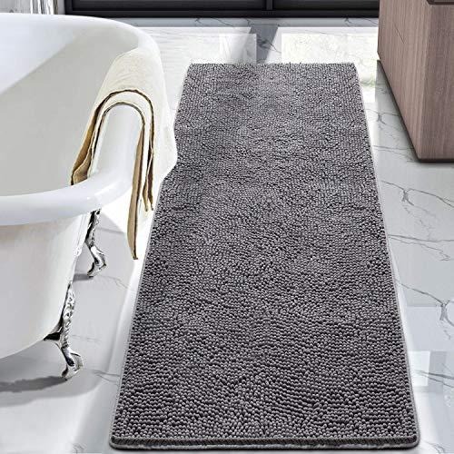 LOCHAS Luxury Bathroom Rug Shaggy Bath Mat 24 x 60 Inch, Washable Non Slip Bath Rugs for Bathroom Shower, Soft Plush…