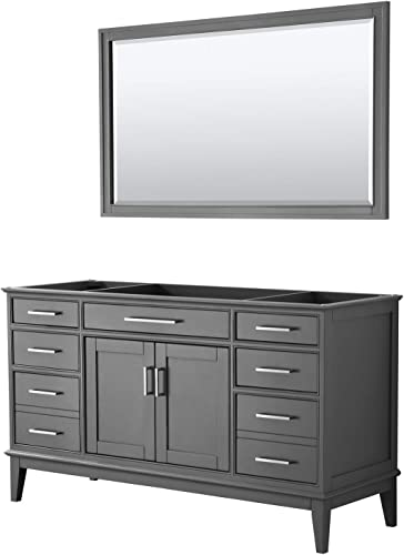 Margate 60 Inch Single Bathroom Vanity in Dark Gray, No Countertop, No Sink, and 56 Inch Mirror