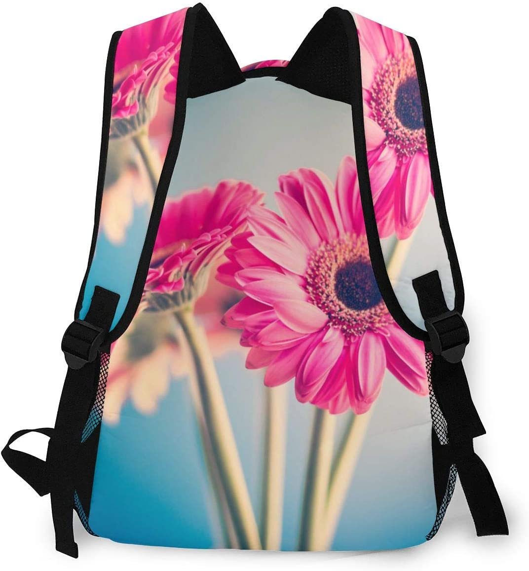 School And Traveling Fits 15.6 Inch Laptop Student Backpack Two Pink Flowers Unisex Laptop Bag Lightweight Casual Rucksack For Commuter