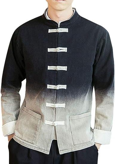 Camisa De Hombre Blusa con Mangas Estilo De China, Chaqueta De Hombre Gradiente Vintage, Cardigan Chaqueta Capa Ropa Casual Abrigo Básico Camisetas (Negro, 4XL Bust:124cm/48.81): Amazon.es: Ropa y accesorios
