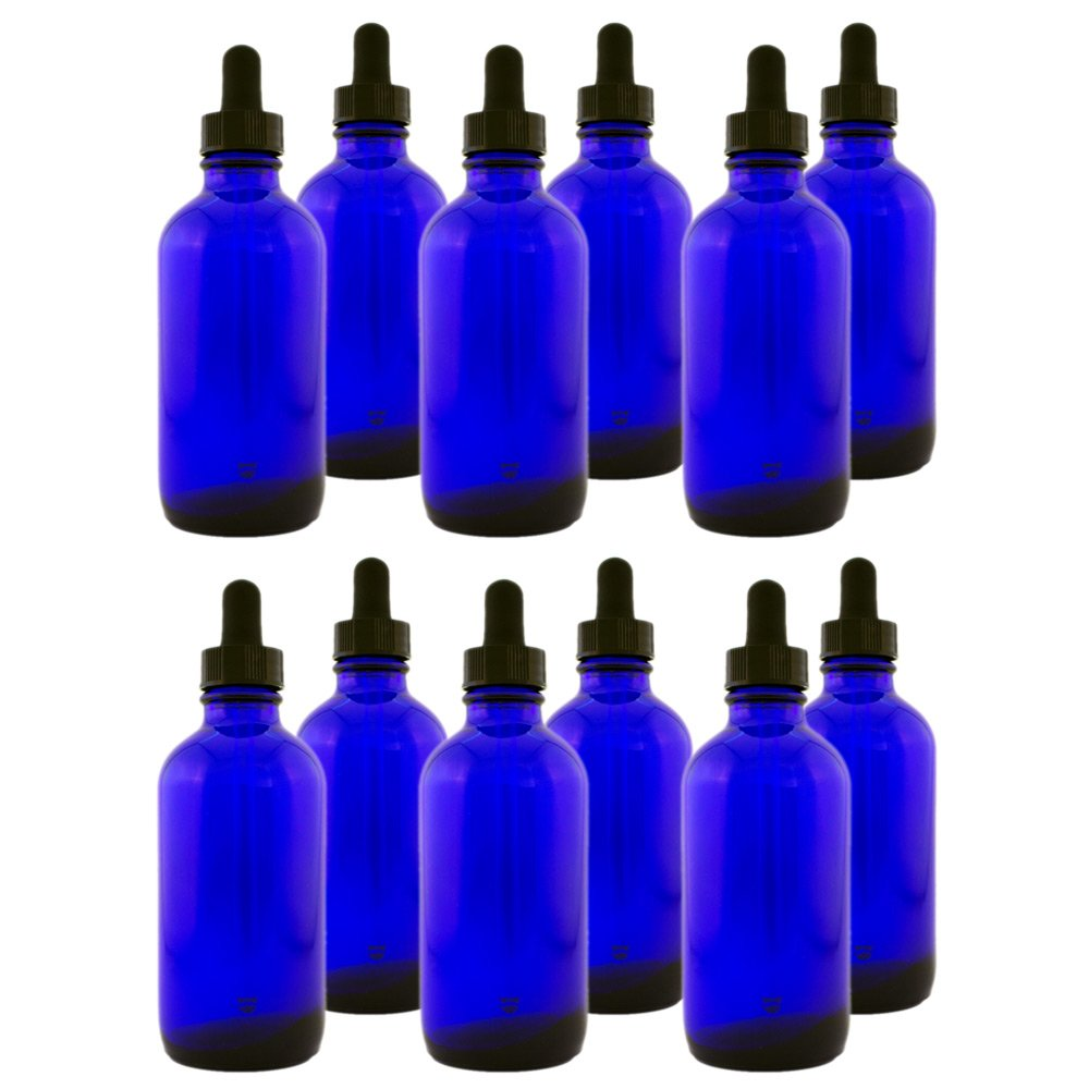 Pack of 12 - 4oz Cobalt Blue Glass Bottle with Glass Dropper - GreenHealth