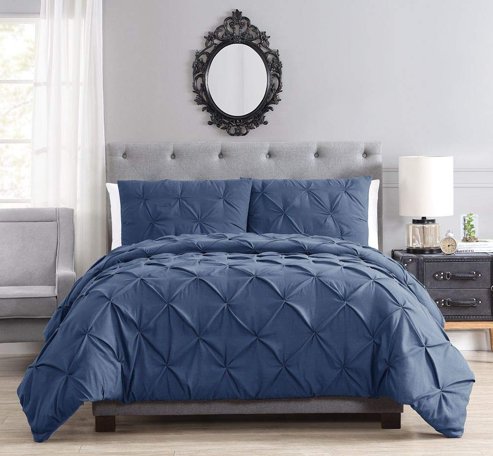 KingLinen Brunel Gray Pinched Pleat Down Alternative Light Fill Comforter Set Twin CF03728-GRAY-T