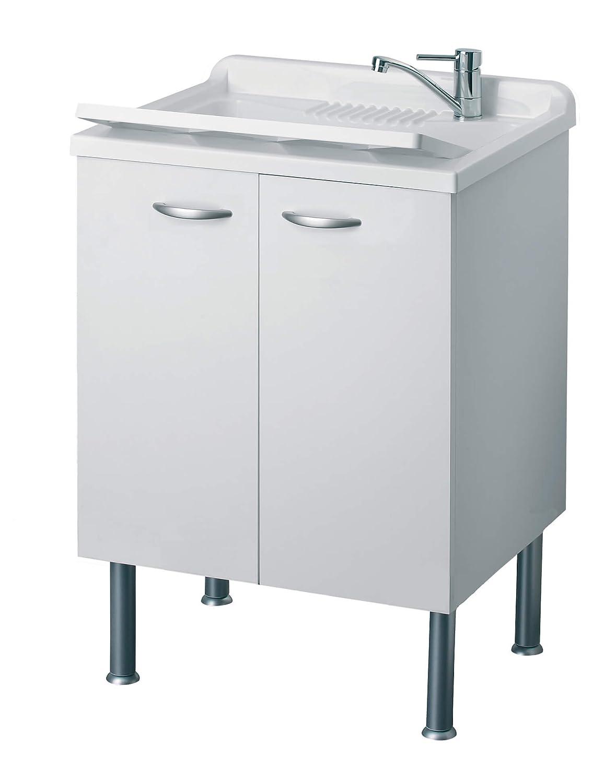 Mobile Lavatoio in Legno 60x50x85cm 2 Ante Forlani Cleanly Bianco