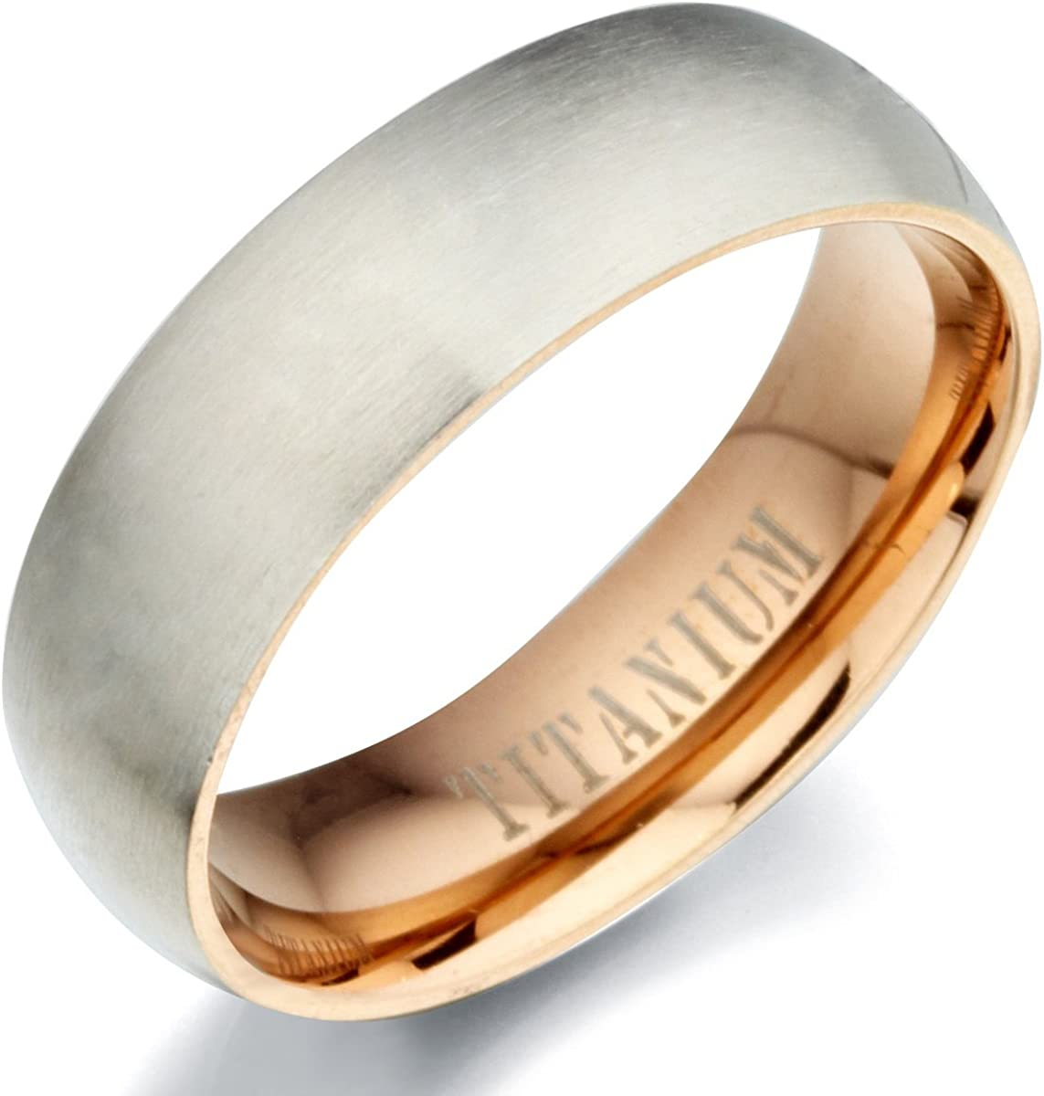 Gemini His or Her Two Tone Black Matt and Polish Titanium Wedding Ring Width 5mm