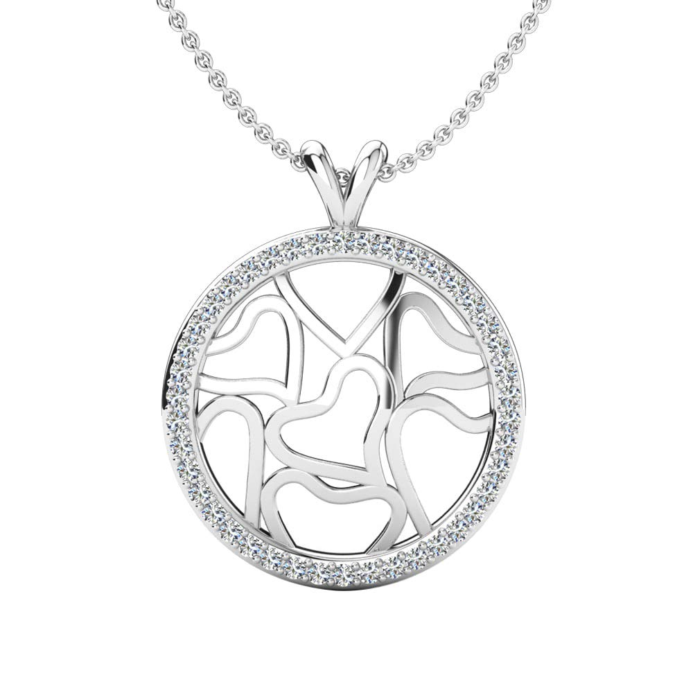 DTJEWELS 0.33 Cts Sim Diamond Round Shape Pendant Necklace W//18 Chain 14K Gold Plated .925 Sterling