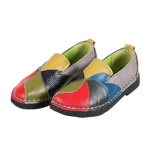 Zapatos de cuero para mujer Color retro a juego Estilo étnico Zapatos casuales de gran tamaño
