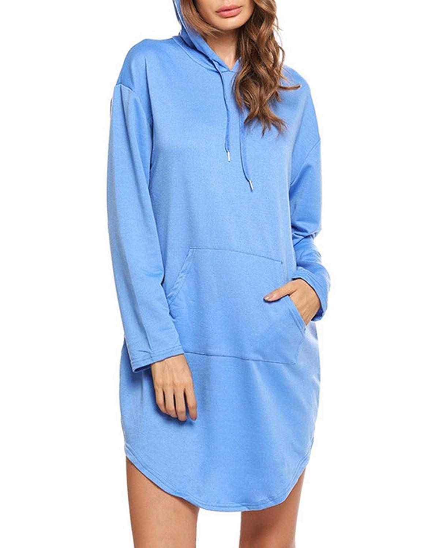 Style Dome Women Hoodie Dresses Long Sleeve Hooded Pullover Sweater Dress Plain Tunic Sweatshirt Long Tops