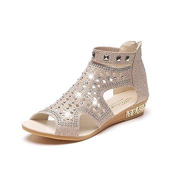 Damen/Damen Leder Smart/Casual/Sommer-Schuhe, Schwarz - Schwarz - Größe: 37
