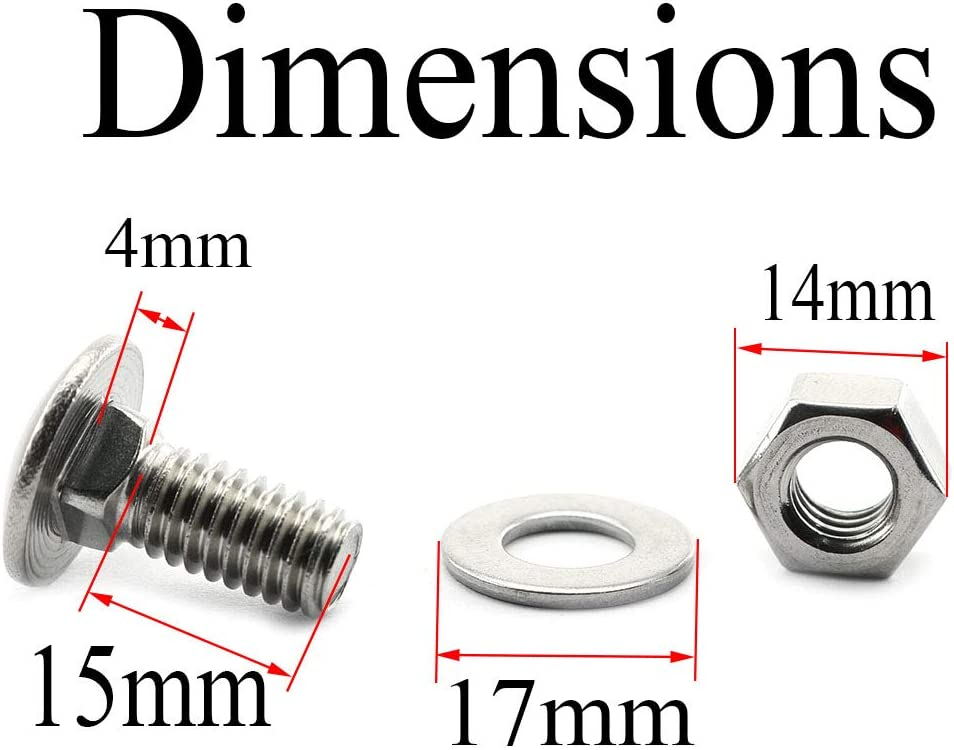 Pro Bamboo Kitchen 10 Sets Stainless Steel Long Carriage Bolts 5//16-18x3//4 with 304 Stainless Steel 5//16 Hex Nuts and Washers