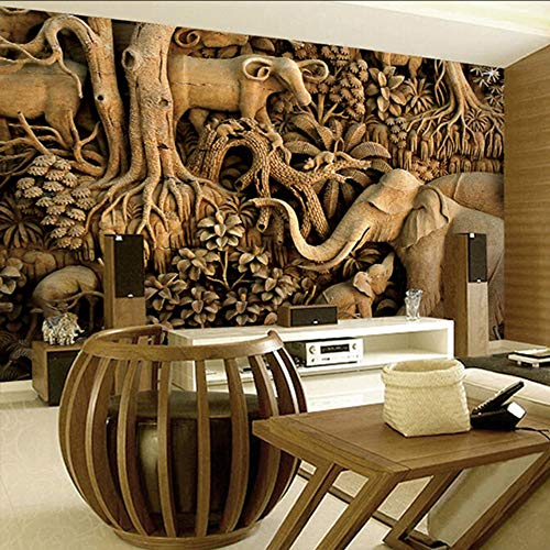 Mural Elephant Wood (Dalxsh Large Wood Carving Elephant Wallpaper 8D Papel Mural for Living Room Background 3D Wall Photo Murals Wall Paper 3D Sticker-250X175Cm)