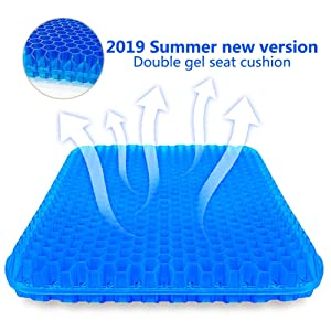 Gel Seat Cushion,Suptempo Thick Big Gel Seat Cushion,Newest Modified Double Gel Seat Cushion, for Pressure Relief Back Tailbone Pain - Home Office Chair Cars Wheelchair(with Mesh Seat Cover)