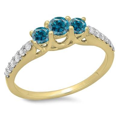ed84c55fb0b2 DazzlingRock Collection 0.75 quilates (CTW) 14K oro corte redondo azul y  diamantes mujer nupcial