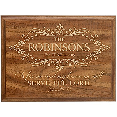Personalized Family Name with Established Year Signs Engraved Custom Verse As for Me and My House We Will Serve the Lord Joshua 24:15 By Dayspring Milestones (Walnut, 12×15)
