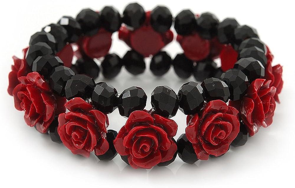 Romántico y rojo oscuro de rosas de resina, color negro - pulsera de cuentas de cristal de Aquiles 19 cm, longitud de la