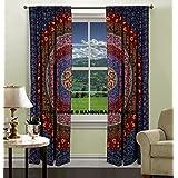 INDIAN MANDALA PRINT Kitchen Window Curtains Curtain & Valance Set Dorm Tapestry ,Indian Drape Balcony Room Decor Curtain Boho Set by handicraftspalace
