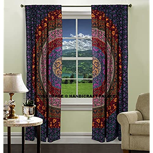 INDIAN MANDALA PRINT Kitchen Window Curtains Curtain U0026 Valance Set Dorm  Tapestry ,Indian Drape Balcony Room Decor Curtain Boho Set By  Handicraftspalace