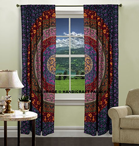 INDIAN MANDALA PRINT Kitchen Window Curtains Curtain & Valance Set Dorm Tapestry ,Indian Drape Balcony Room Decor Curtain Boho Set by handicraftspalace - Indian Window Curtains