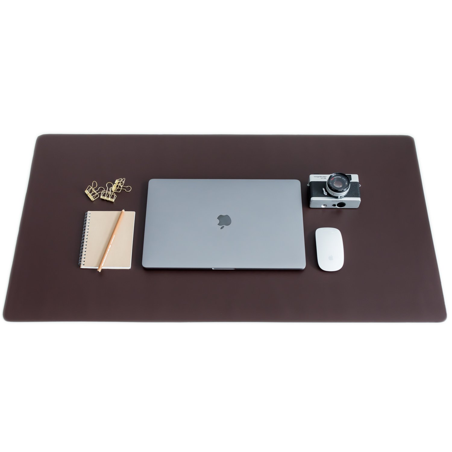 ZBRANDS // Brown Leather Smooth Desk Mat Pad Blotter Protector, Extended Non-Slip Rectangular, Laptop Keyboard Mouse Pad (36'' x 20'')