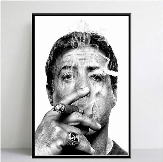 JLFDHR Druck auf Leinwand 60x80cm ohne Rahmen Sylvester Stallone Rauchen Zigarre Movie Star Art Malerei Leinwand Poster Wand Wohnkultur