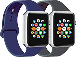 CoJerk Compatible for Apple Watch Band 38mm 40mm 42mm 44mm,Replacement Band for iWatch Series 5/4/3/2/1 (Midnight Blue+Dark Gray, 42mm/44mm-sm)