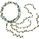 SODIAL (R) 2x Copricapo fascia artificiale del fiore della Rosa Ghirlanda sposa nozze Avorio + Blu