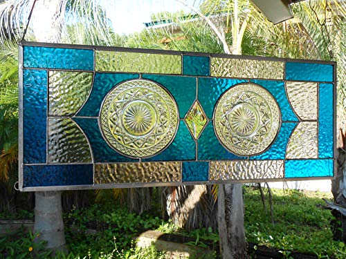 Recycled Depression Glass, Imperial Cape Cod Plates, Stained Glass Window Panel, Antique Transom Window, Vintage Glass Valance