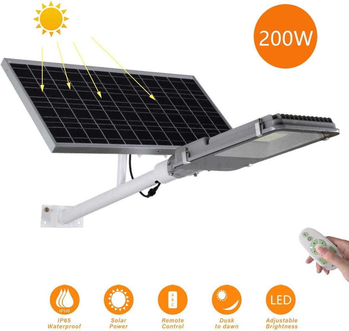 Luces de inundación solar Farola solar LED Brillo alto Luz de seguridad Con control remoto IP65 a prueba de agua Luz de jardín Lámpara de ingeniería Adecuado para Patio, Iluminación Solar Vial,200w: