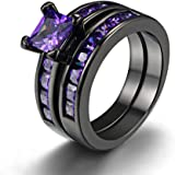 FENDINA Womens Vintage 18K Black Gold Plated Created Solitaire Amethyst Wedding Engagement Ring Set Anniversary Promise Band