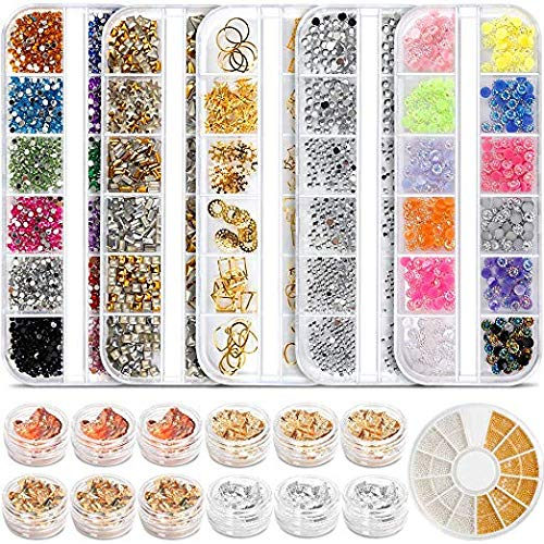 - Teenitor Professional Nail Kit with 6 boxes Nail Art Rhinestones& 1 box nail foil chip, Multi-size Gems Metal Nail Rivets Studs Double-sided Color Nail Art Foil Pailette Chip Foil flake