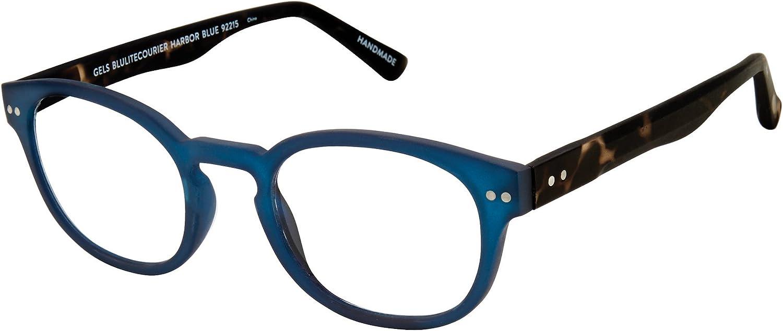 Scojo New York Gels Courier BluLite Reading Glasses, Harbor Blue, 1.00 Magnification