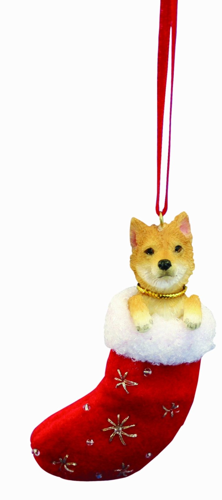 Shiba Inu Christmas Stocking Ornament with ''Santa's Little Pals'' Hand Painted and Stitched Detail