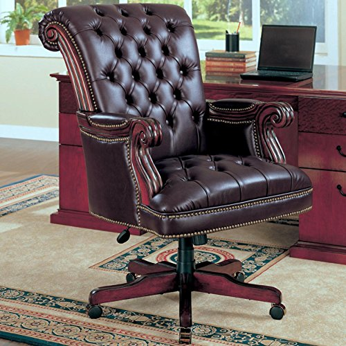 A Line Furniture Plush Rolled Back Design Traditional Button Tufted Executive Office Chair with Nailhead Trim