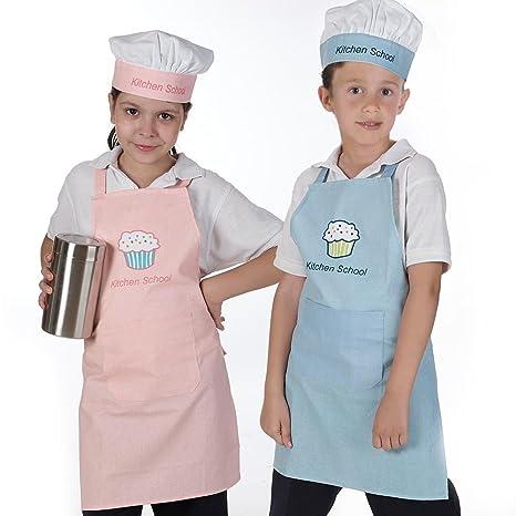 Delantal y gorro de cocina infantil: Amazon.es: Bebé