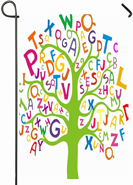 Ahawoso - Bandera de jardín para exteriores, 30, 5 x 45, 7 cm, diseño de alfabeto azul, letras abstractas de árbol, color verde primario, ABC, juguete preescolar, leer, diseño de letras, decoración