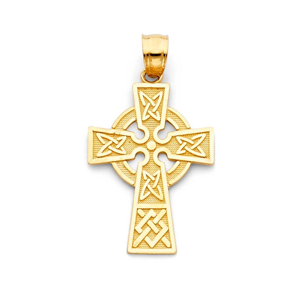 20 X 30mm Million Charms 14k Yellow Gold Religious Celtic Cross Pendant
