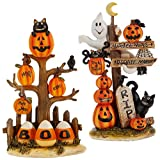 Raz Imports Halloween Decor - Boo and RIP Cute Cats Candy Corn Resin
