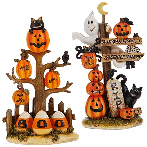Raz Imports Halloween Decor - Boo and RIP Cute Cats Candy Corn Resin -
