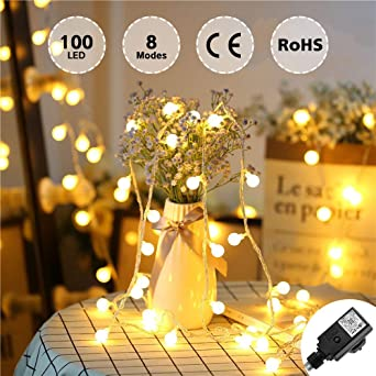 Modes Ampoules Noël Adaptateur Petites Lumineuse 10m Pour Blanc 100 Avec Décoration Guirlande Halloween Fête Led Boules Romantique Globes 8 Chaud EDI92H
