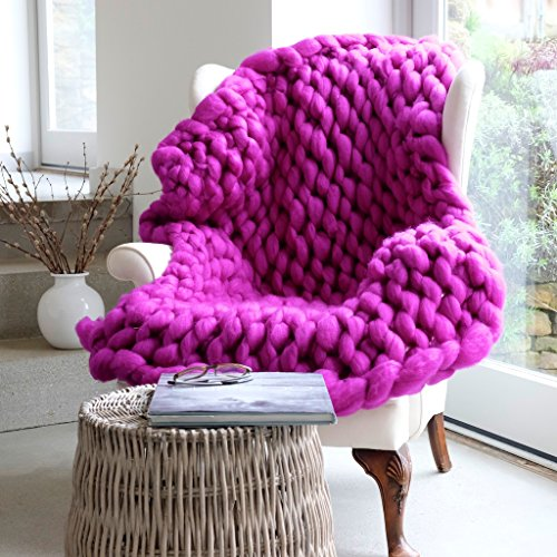 Chunky Knit Blanket, Knitted Blanket, Merino Wool Blanket, Chunky Throw, Rustic Farmhouse. Sofa Cover, Chair Cover