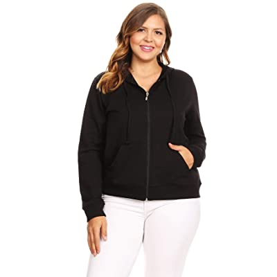 Ambiance Apparel Women's Plus Size Stretchy Full Zip Fleece Hoodie at Amazon Women's Clothing store